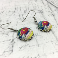 Water Lilies fabric button earrings Monet Impressionist inspired