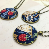 Bird pendant Strawberry Thief William Morris fabric button arts and crafts