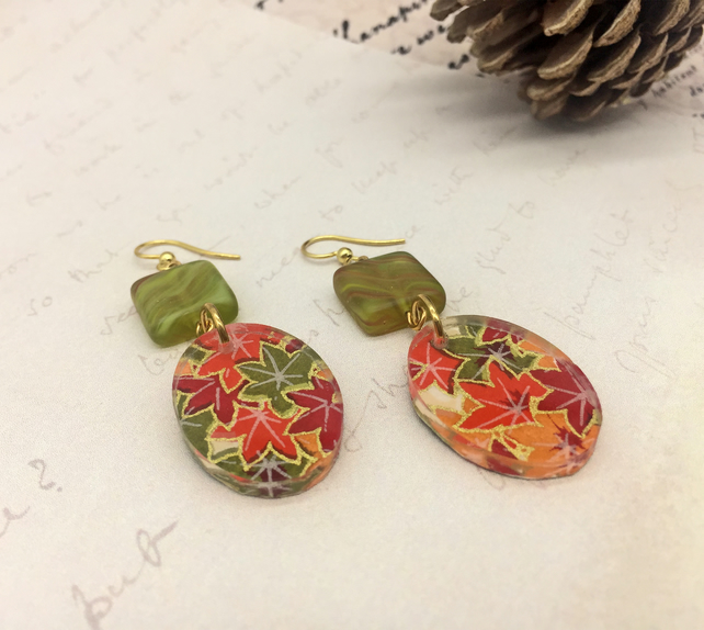 Autumn leaves Japanese Washi Paper and acrylic oval earrings Maple leaf