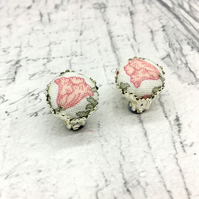 Poppy pale peach Liberty print fabric button clip on filigree earrings