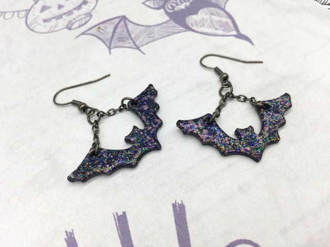 Black and purple glitter Bat earrings Halloween Gothic bat lover