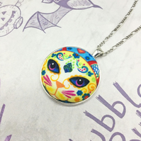 Cat Day of the Dead sugar skull cat face fabric button pendant Halloween gifts