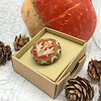 Red and gold thistle William Morris fabric button brooch arts and crafts
