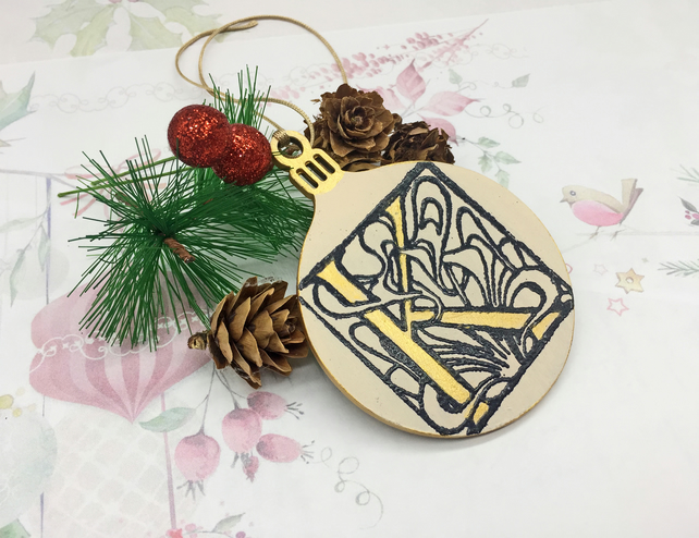Personalised Illuminated Initial bauble wooden decoration