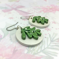 Mistletoe wooden dangle earrings green and pearl white winter festive nature