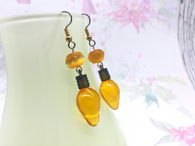 Retro yellow or red light bulb dangle earrings stocking fillers