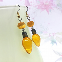 Retro yellow or red Christmas light bulb dangle earrings stocking fillers