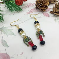 Nutcracker soldier glass pearl and diamante crystal dangle earrings festive