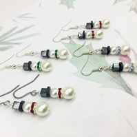 Snowman glass pearl crystal diamante and hematite dangle earrings gifts for her