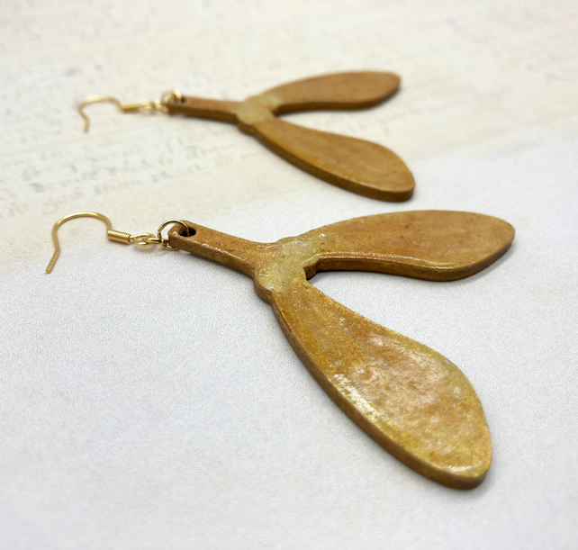 Sycamore seeds golden brown wooden statement dangle earrings gifts for her