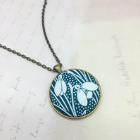 Snowdrop duo fabric button pendant dark teal green from Liberty print bronze