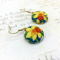 Golden Daffodils fabric button dangle earrings spring flowers gifts for her