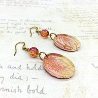 Pink leaves Japanese Washi paper oval acrylic dangle earrings