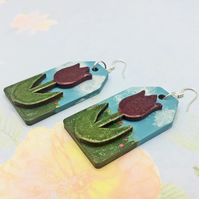 Tulip in a garden wooden dangle statement earrings hand painted gifts for her