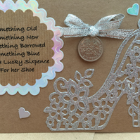 Rustic Shabby Chic Lucky Sixpence Wedding Favour Gift Card Tattered Lace