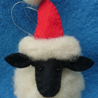 Needlefelted Santa Sheep Christmas tree bauble decoration