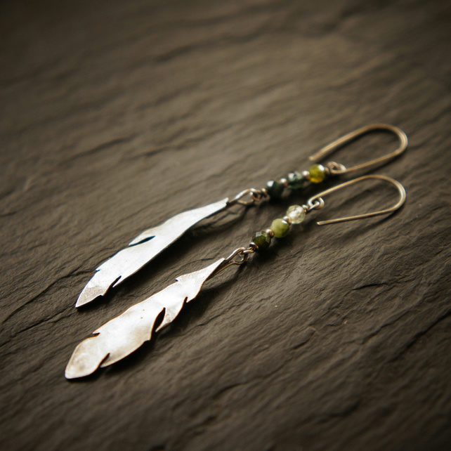 Silver Feather and Green Tourmaline Earrings