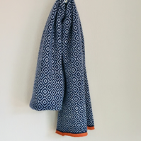 Merino Lambswool Large Marled Blue and Silver Scandi Pattern Scarf  Wrap
