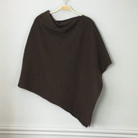 Soft Merino Lambswool Hickory Nut  Brown Wrap Poncho