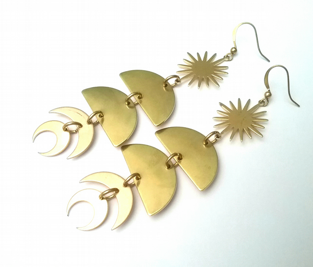 Raw Brass Geometric boho Earrings...