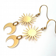 Cresent Moon & Star Burst Earrings..