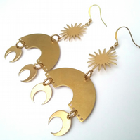 Raw Brass Geometric Bohemiem Earrings.....