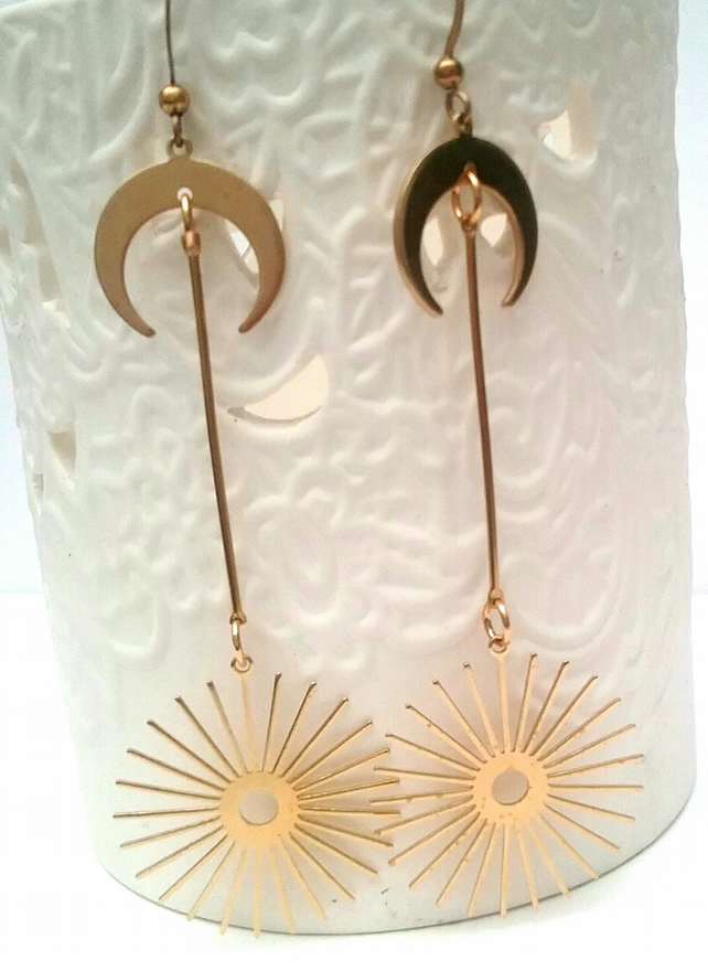 Raw Brass Boho Earrings