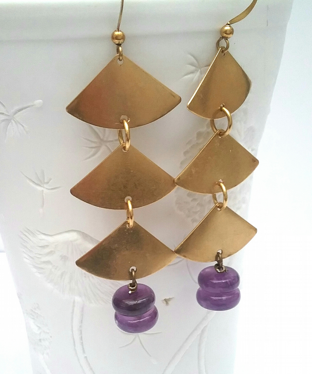 Amythest Raw Brass Boho Earrings