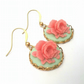 Detailed Rose Cabochon Earrings