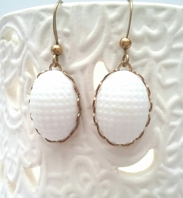 White ceramic cabochon earrings