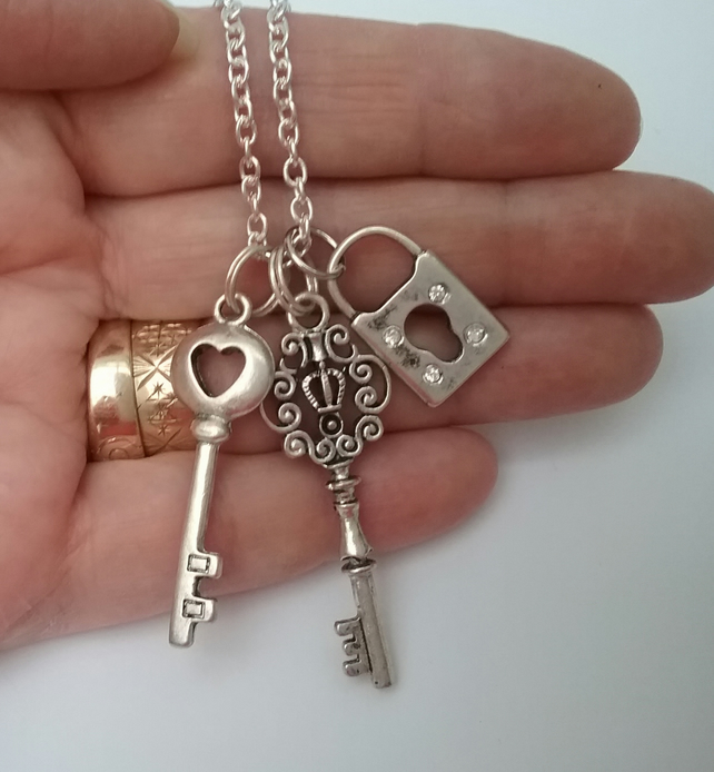 Silver Keys & Lock Necklace