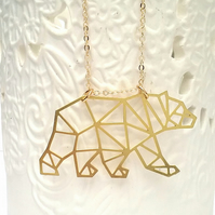 Raw Brass Polar Bear Necklace ....