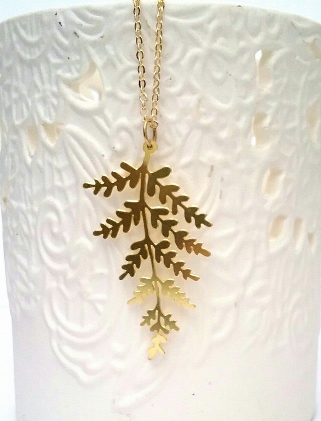 Brass Fern Necklace