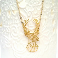 Raw Brass Geometric Deer
