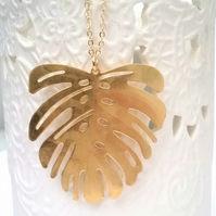 Raw Brass  Monstera Necklace