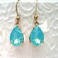 Aqua Opal Vintage Glass  Earrings