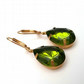 Emerald Green Vintage Glass Earrings