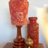 Red BOKARA a 70s Wardle Vintage Fabric Lampshade option