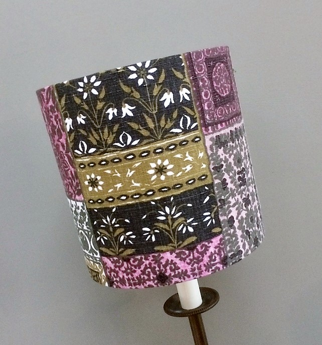 Highly Detailed Green and Pink Patchwork Vintage Fabric Lampshade option