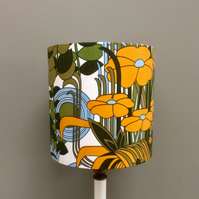 MOD 70s Abstract Ashwell Tropical Green Vintage Fabric Lampshade