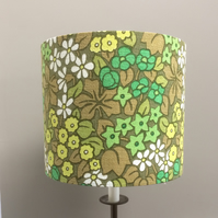 Funky Lemon and Lime Flower 60s 70s vintage fabric  Lampshade