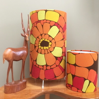 60s 70s Bright Orange Brown Druid Sanderson  vintage fabric Lampshade option