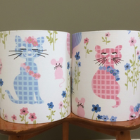 Fun  60s Cat and Mouse PUSS PUSS Sanderson  Vintage Fabric Lampshade option