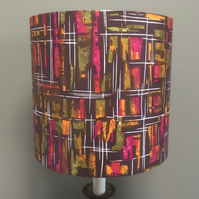 Mid Century Abstract Black Neon Tropical Fruit colours Vintage fabric Lampshade