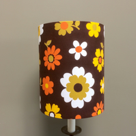 FUN 60s 70s  Hippy Sunny Daisy Brown VIntage fabric Lampshade