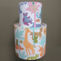 Fun  60s 70s Animals CALICO ZOO Jonelle  Vintage Fabric Lampshade option