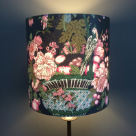 Pink and  Green  Bold Elegant Bird VIntage style Fabric Lampshade option