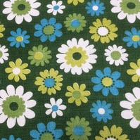 GREEN Blue Daisy Flower Power Vintage 60s 70s Barkcloth Fabric Lampshade option