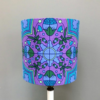 BELMONT Jonelle Blue Purple Abstract 60s 70s Vintage Fabric Lampshade option