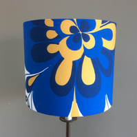 Bold Blue Groovy Flower Retro fabric Lampshade